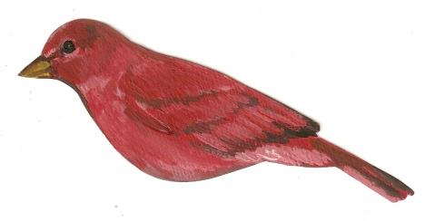 handpainted red birds
