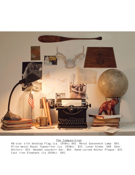 Typewriter, gooseneck lamp, etc.