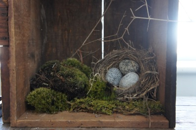 Spring Table nest with rock eggs