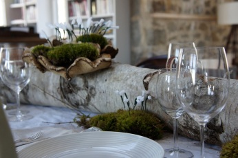 Handmade paper snowdrops for an early spring table setting.