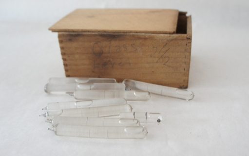 Old glass levels in box