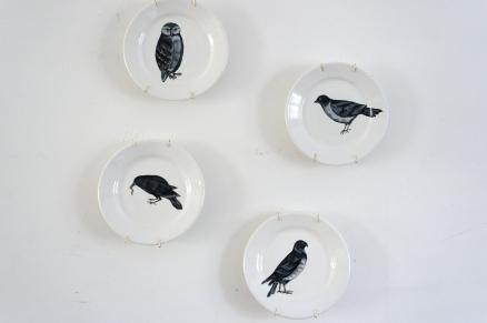 Handpainted vintage plates: birds