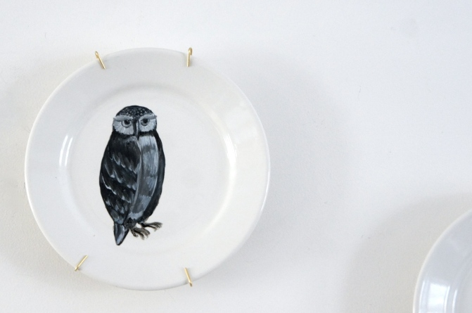 Handpainted vintage plate: owl