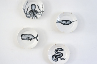 Handpainted vintage plates: sea creatures