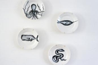 Handpainted vintage plates: sea creatures