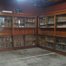 Antique glassware on display